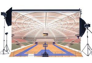 Image 1 - Luxurious Basketball Court Backdrop Stadium Crowd Shabby Wood Floor Interior Gymnasium Photography Background