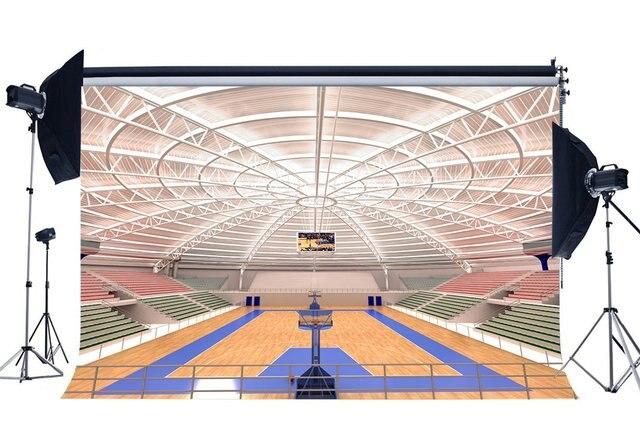 Luxurious Basketball Court Backdrop Stadium Crowd Shabby Wood Floor Interior Gymnasium Photography Background