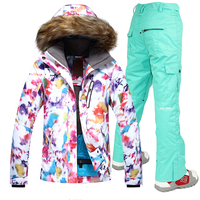 Free Shipping Gsou Snow New Jackets Women Ski Suit Set Jackets And Pants Outdoor Skiing Suit Windproof Therma Ski Snowboard