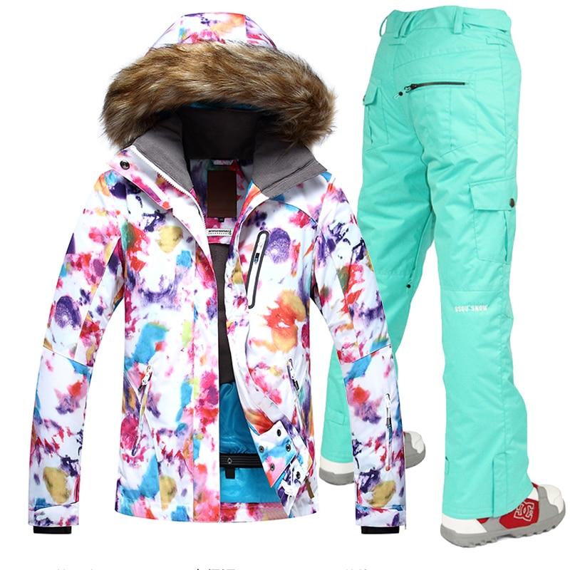 Livraison gratuite Gsou neige nouvelles vestes femmes Ski costume ensemble vestes et pantalons en plein air Ski costume coupe-vent Therma Ski Snowboard