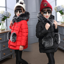 2016 Newest Children's Cotton Coats Baby Girls Coats Thicker Warm Jackets Kids Outdoor Parkas Fashion Long Style Outerwear