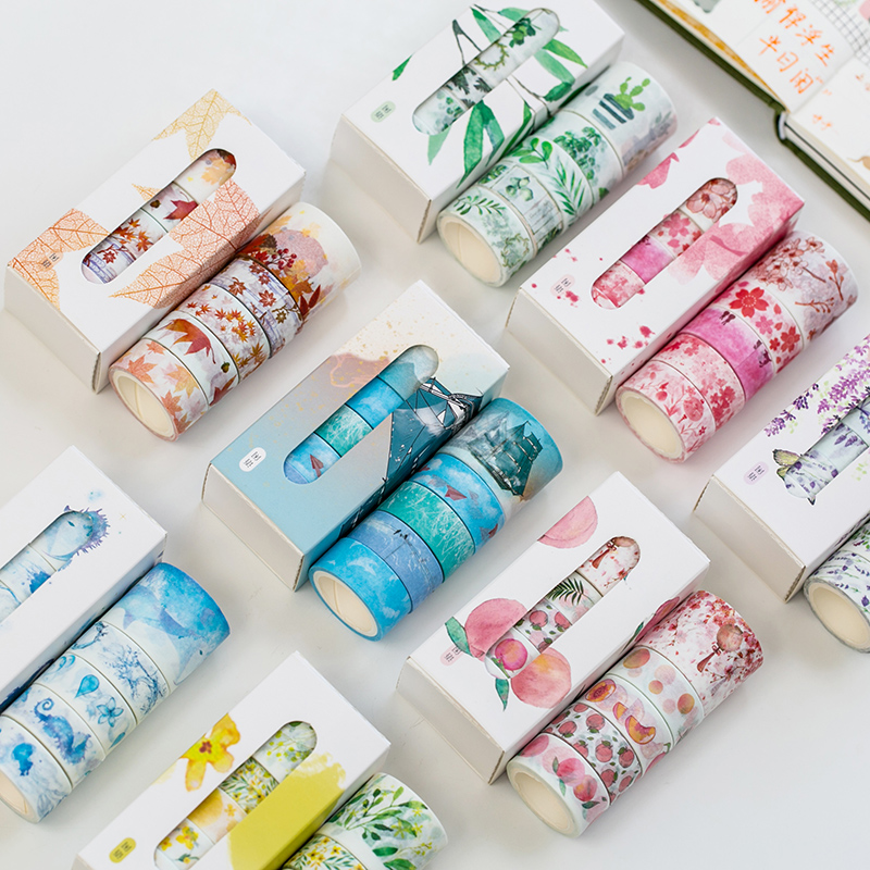 5 Rolls Flowers Season Masking Washi Tape Set Adhesive Decoration Tapes Masking Stickers Diary Album Stationery School Supplies