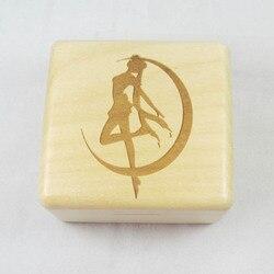 Wooden wind up music box with Sankyo mechanism Sailor moon melody moonlight densetsu