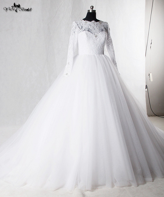 RSW938 Vintage Long Sleeve Lace Wedding Dresses Vestido De Noiva Com ...