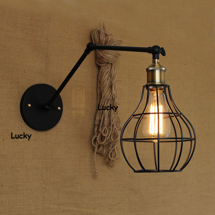 Wall Lamps Retractable : Loft RH Industrial E27 American Country Pulley Pendant Lights Adjustable Wire Lamps Retractable ...
