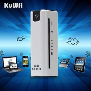 Image 4 - KuWFi 21.6Mbps kilidi açık seyahat 3G WIFI yönlendirici kablosuz akıllı mobil wifi router güç bankası sim kartlı router yuvası