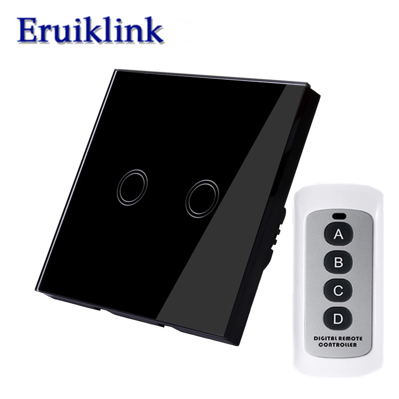 EU/UK Standard Wall Touch Switch,1/2/3 gang 1 way Black Glass Panel Remote Control Light Switches+LED Indicator RF433 Smart home eu uk standard 1 2 3 gang 2 way remote control light switch glass panel lamp switch for rf smart home touch wall light switch