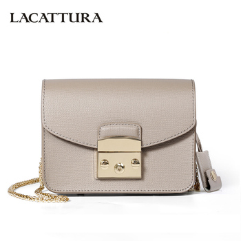 LACATTURA Mini Candy Bag Women Messenger Bags Cowhide Leather Brand Handbag Ladies Chain Shoulder Bag fashion Crossbody new item shoulder bag
