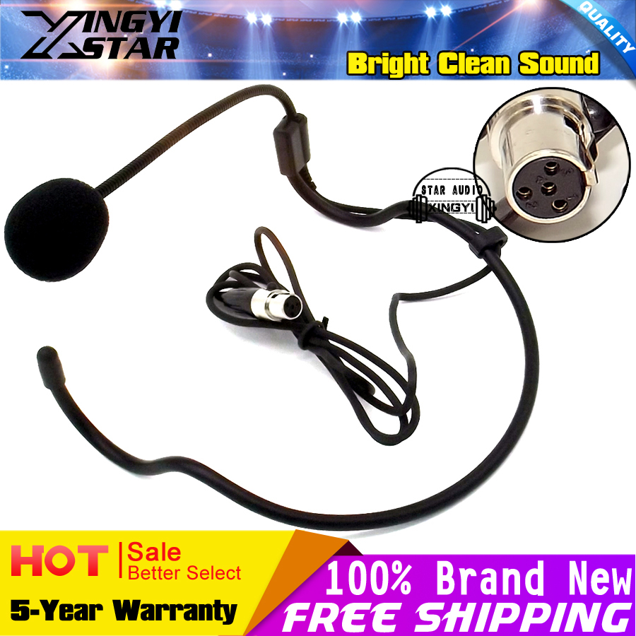 Mini XLR 4 Pin TA4F 4PIN Connector Earhook HeadWorn Headset Microphone Headband Mic Mike For SHURE Wireless BodyPack Transmitter
