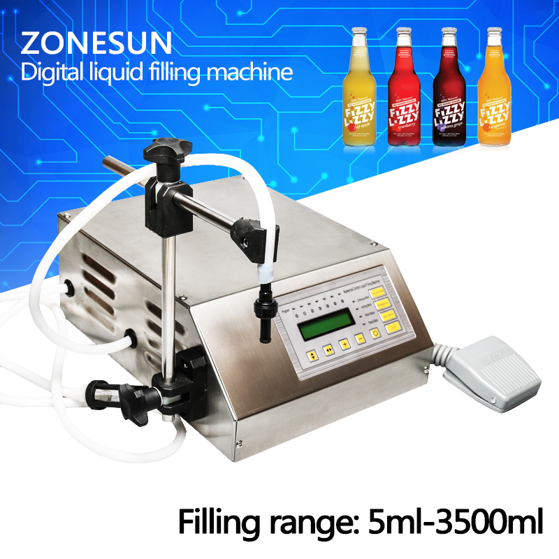 ZONESUN  GFK-160 Digital Control Liquid Filling Machine /Small Portable Electric Liquid Water Filling Machine zonesun pump for liquid filling machine gfk 160