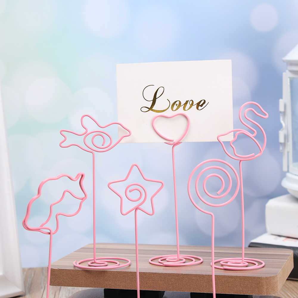 6 Styles Fashion Metal Place Card Holder Cool Wedding Desktop Decoration Photo Folder Romantic Heart Shape Clips Clamps Stand