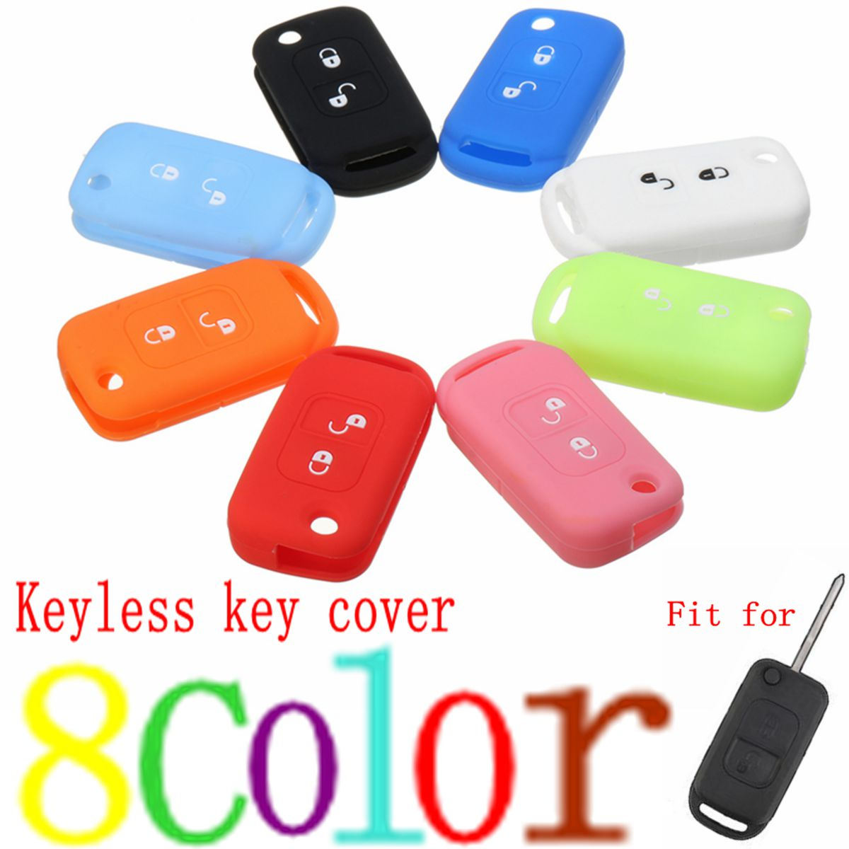 2 Button Silicone Car Key Case Covers Remote Key Cover Case For Mercedes -Benz A C E S W168 W202 W203