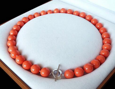 Natural AAA + 12mm Orange Red Color Shell Pearl Necklace 18  AAA Style Fine Noble Natural Free Shipping