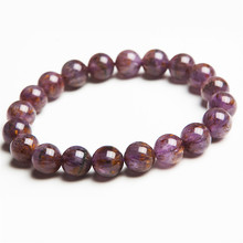 купить 10mm Genuine Natural Cacoxenite Rutilated Quartz Bracelet Purple Gold Crystal Round Bead Stretch Bracelet по цене 2936.77 рублей