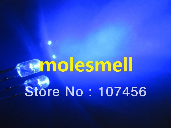 1000PCS 3MM Blue 5000MCD Round Water Clear LED Light NEW