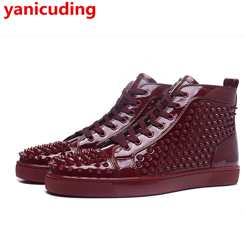yanicuding Luxury Brand Men Casual Shoes High-Top Outdoor Fashion Rivet Lace Up Men Shoe Breathable Flat Round Toe Unisex Shoe gram epos men casual shoes top quality men high top shoes fashion breathable hip hop shoes men red black white chaussure hommre