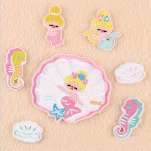 Sea Animal Cartoon Badge Repair Patch Embroidered Iron On Patches For Clothing Close Shoes Bags Badges Embroidery DIY