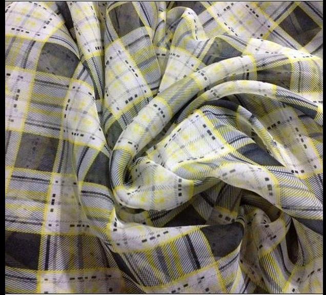Customized 150cm width yellow grey Scotland font b tartan b font lattice Chiffon silk Cloth Fabric