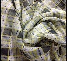 Customized 150cm width yellow grey Scotland tartan lattice Chiffon silk Cloth Fabric for Shirt coat skirt
