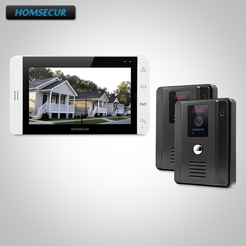 HOMSECUR 7 Video Door Entry Phone Call System+Black Camera for Home Security 2C1M:TC011-B Camera(Black)+TM703-W Monitor(White)