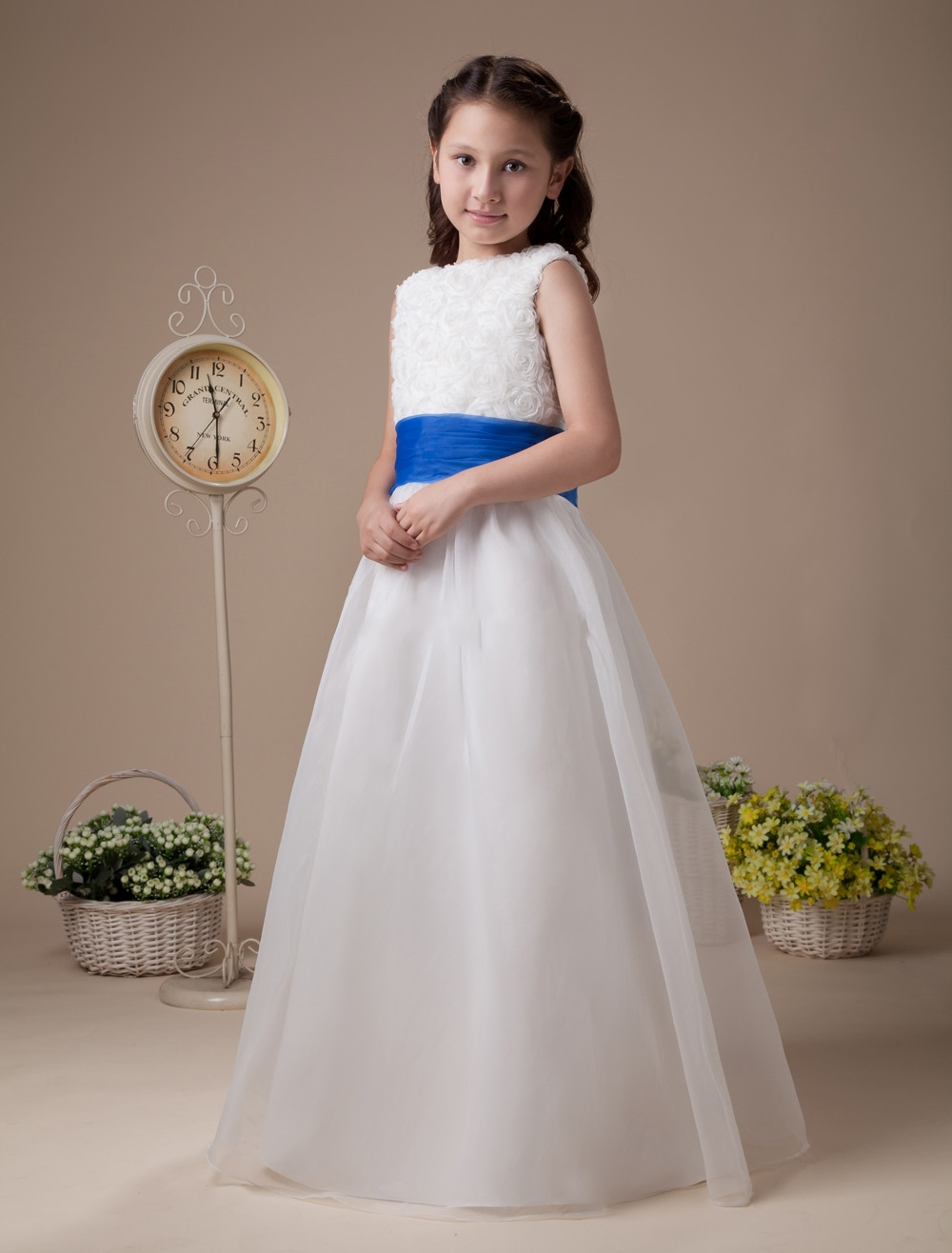 Cute high collar ruffle organza girls dresses flower girl royal blue cute high collar ruffle organza girls dresses flower girl royal blue sash kids evening gowns 2014 in flower girl dresses from weddings events on izmirmasajfo