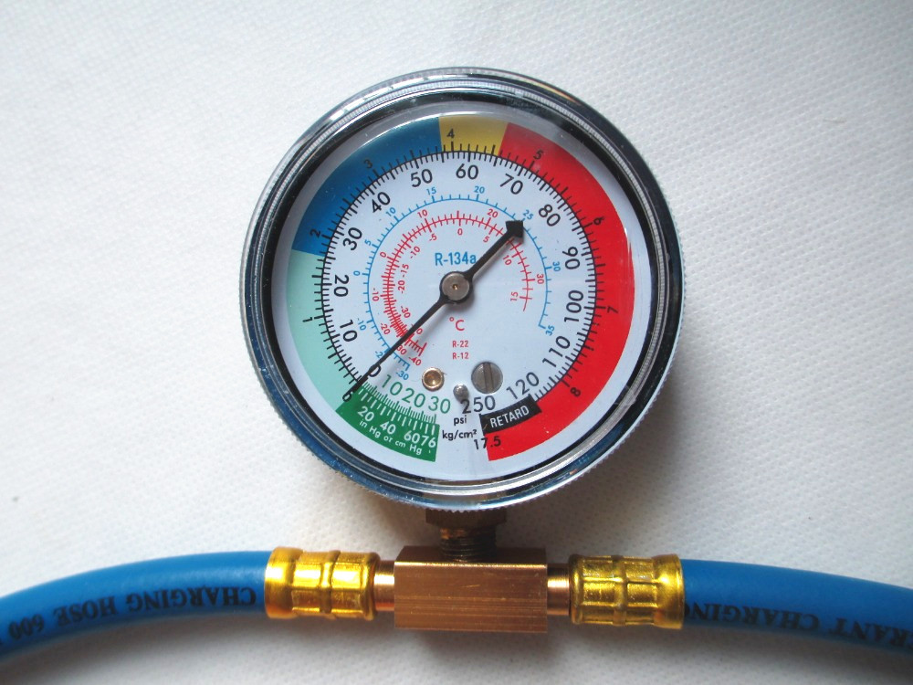 New R134a Recharge Measuring Hose Gauge Adapter A/C Refrigerant Charging Pipe