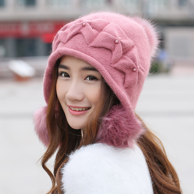 Rabbit Fur Hat Female Winter New Arrival Knitting Ear Caps Double Layer Thermal Thickening Fashion Knitted Hats Gorro