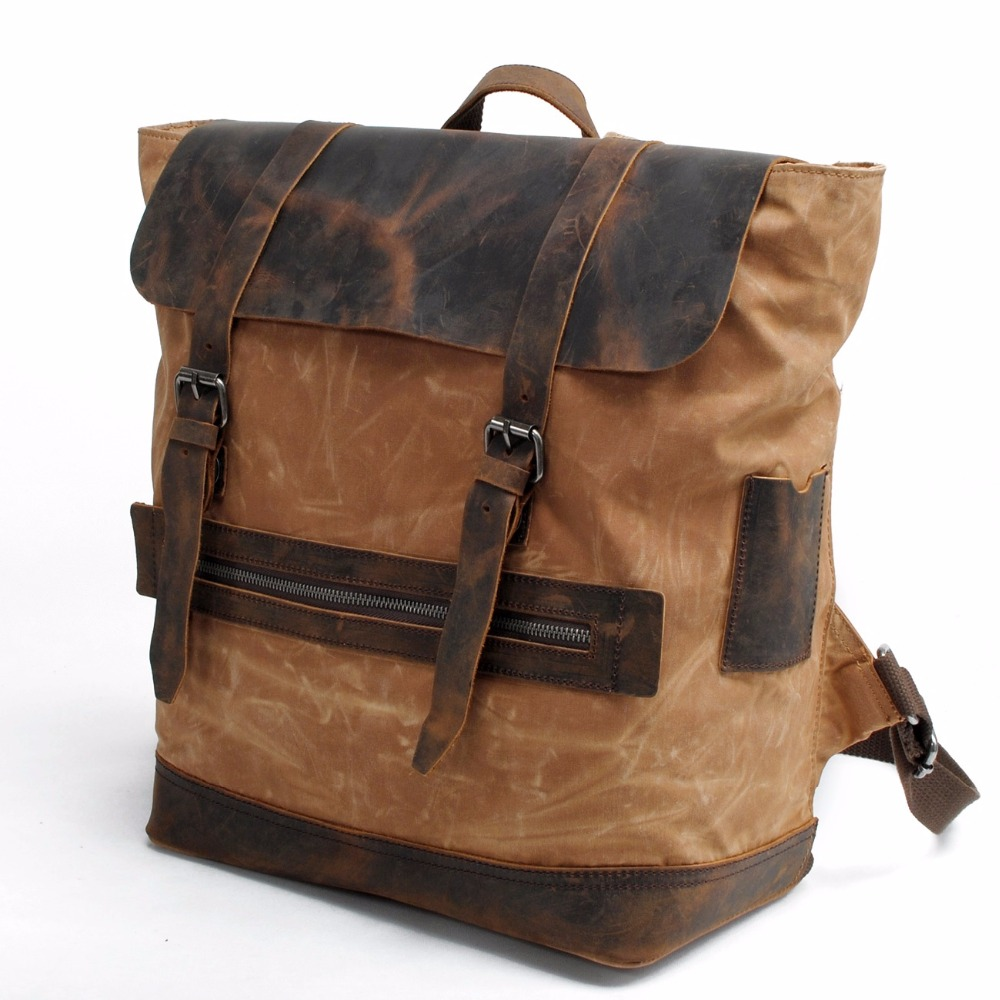2016 New retro canvas leather backpacks leisure travel men and women backpack student bags 82048K chic canvas leather british europe student shopping retro school book college laptop everyday travel daily middle size backpack