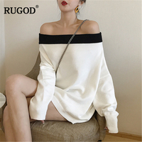RUGOD New Fashion Female Solid Sweater 2018 Autumn Winter Casual Slash Neck Knitted Long Sleeve Pullovers For Women Sueter Mujer