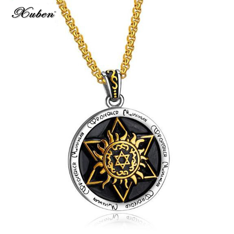 Stylish titanium silver chain angel guardian pendant hot Best selling retro six star round tag mens necklace in jewelry