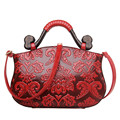 Brand spring new women embossed handbag with flower national tote bag ladies trapeze shoulder messenger bags