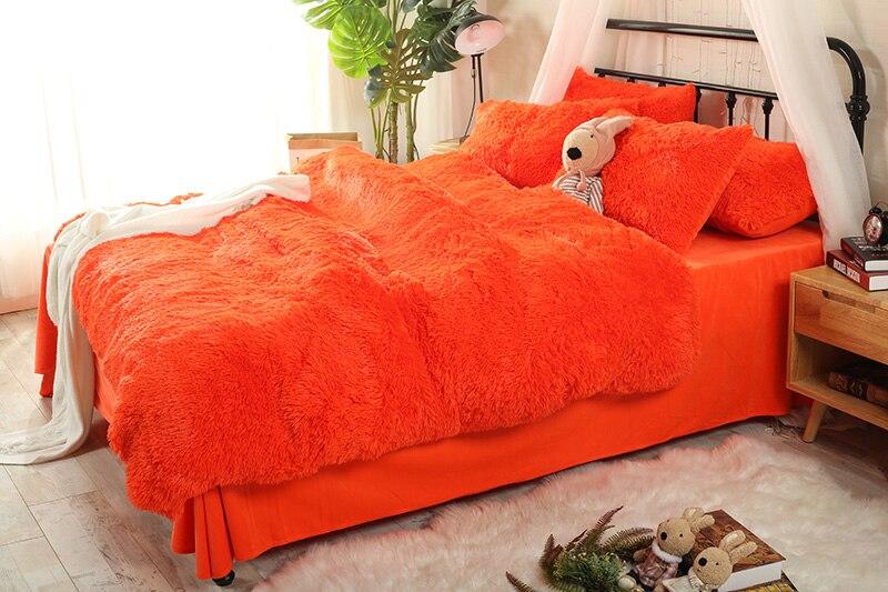 Ropa de cama de invierno de lana gruesa marrón gris naranja juegos de cama tamaño Queen/juego de sábanas juego de edredón funda de almohada suave ropa de cama de abrigo-in Juegos de ropa de cama from Hogar y Mascotas    3