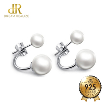 DR Real 925 Sterling Silver White Pearl Stud Earrings Fashion Jewelry Pearls Earrings for Women Size 6/8 MM