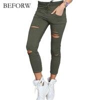 BEFORW Sıska Pantolon Kadın Seksi Delik Diz Kalem Pantolon Yaz Ladis Yüksek Bel Rahat Pantolon Streç Jeans Ripped