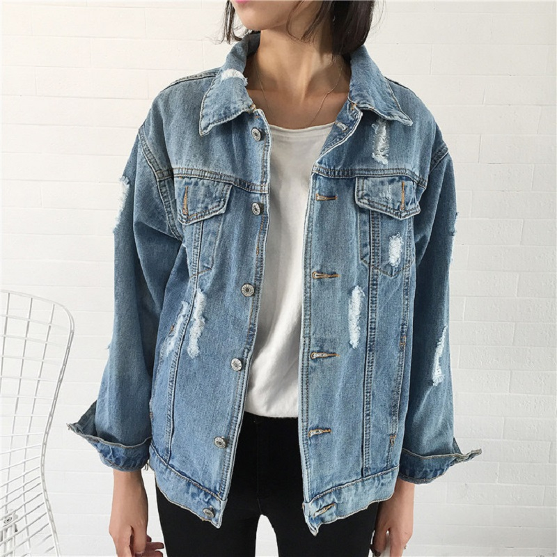 Jeans Jacket Women Casacos Feminino Slim Ripped Holes Denim Jacket Femme Elegant Vintage Bomber Jacket 2018 Casual Basic   Coats