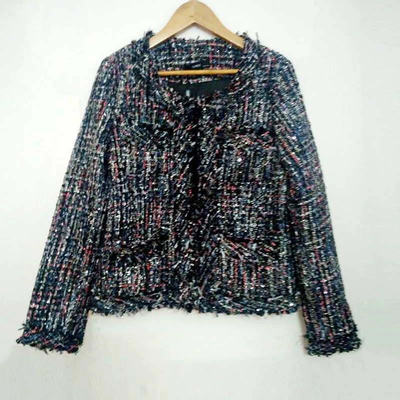 tweed jacket coat ladies autumn / winter new high end small fragrant wind beaded jacket a generation Woolen coat vestidos-in Jackets from Women's Clothing    2