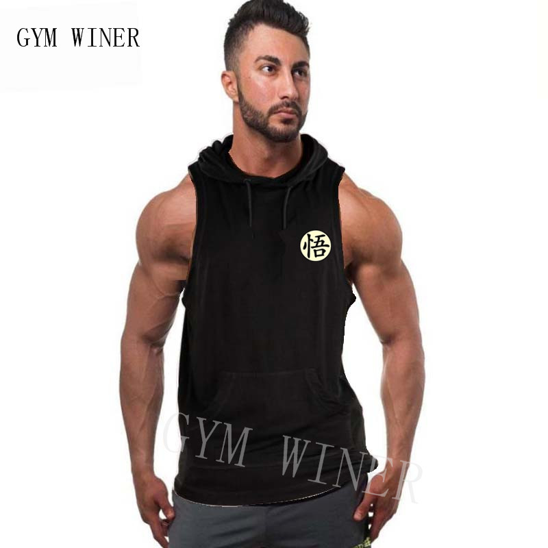 Brand Clothing Bodybuilding Dragon Ball Fitness Men Gyms Hooded Tank Top Vest Stringer Sportswear Sleeveless Shirt Hoodie