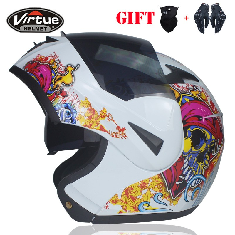 Dernières Flip Moto Casque de Moto Double Objectif Plein Visage Racing Casque avec Interne Pare-Soleil Approuvé DOT Croix Casques