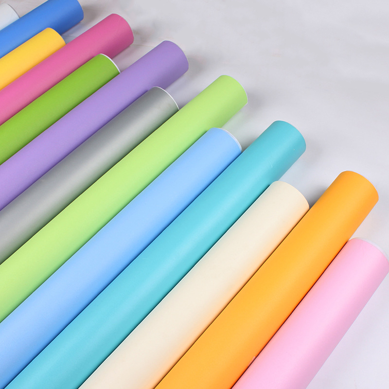 Solid Color DIY Decorative Film PVC Self Adhesive Wall Paper Furniture Renovation Stickers Kitchen Cabinet Waterproof Wallpaper