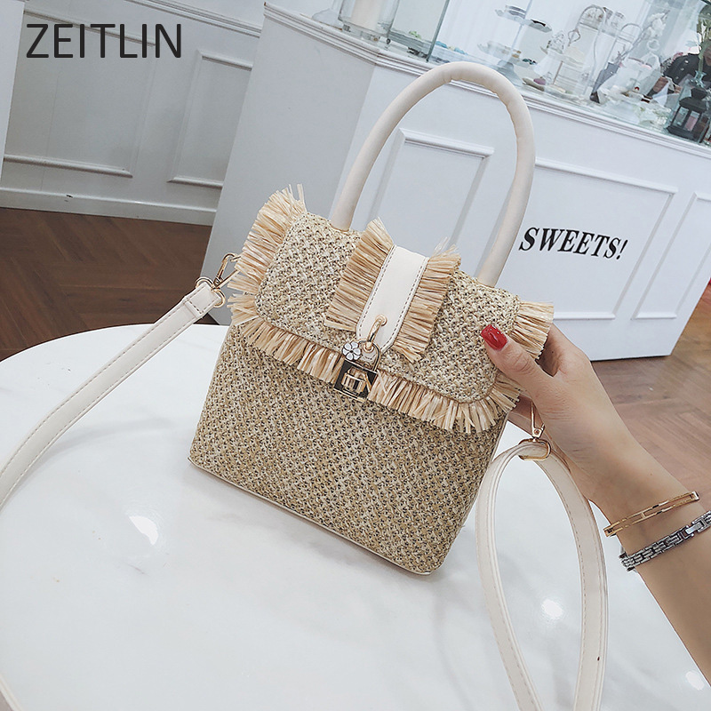 Straw Mini Shoulder bag casual interlock tote braiding womens crossbody bag national style woven beach bag 2018 fashion S396