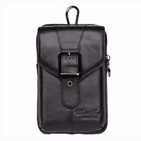 High Quality Genuine Leather Skin Men Cell Mobile Phone Case Hip Bum Tactical Molle Bag Belt