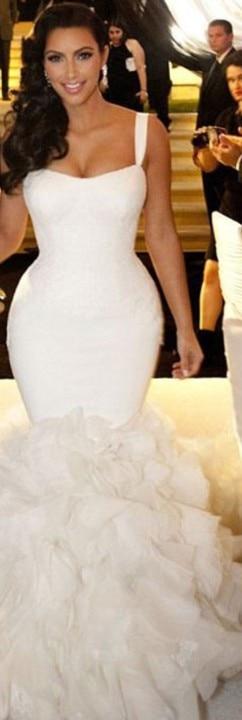 22017 New Hot Kim Kardashian Real Model Y Straps Lace Ruffles Wedding Dress Mermaid Bridal Gown Chapel Train In Dresses From