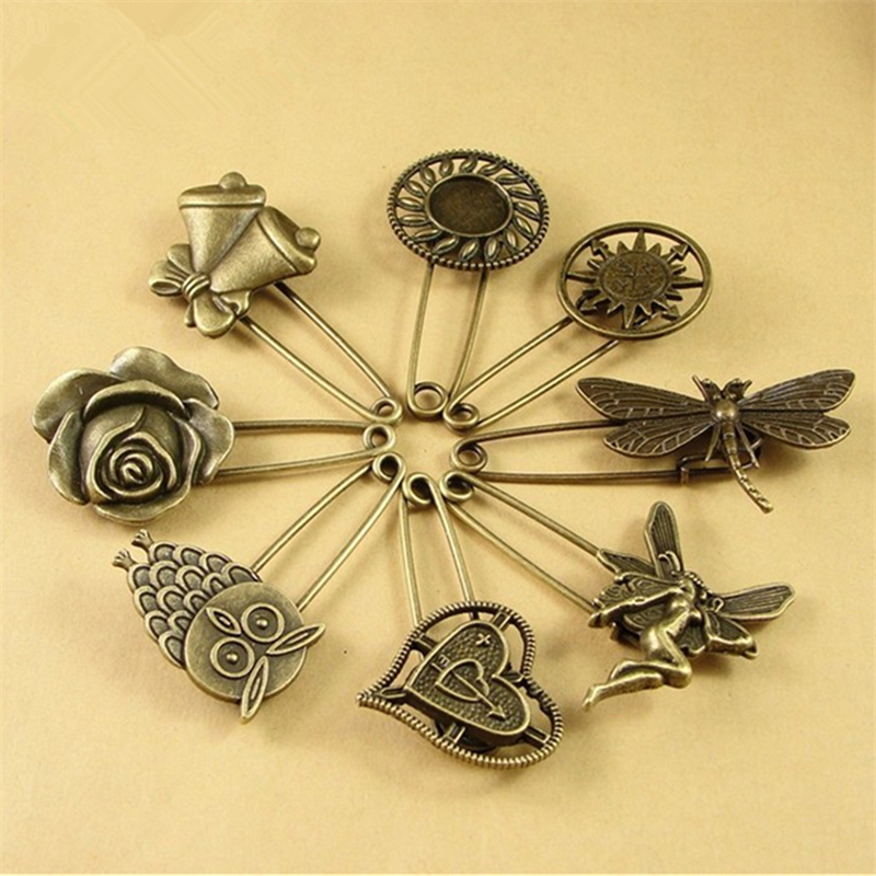 DoreenBeads 5cm Long Safety Pins Vintage Fashion Pin Brooch Heart Flower Angle Shape Ornaments For Scarf Sweather Coat Hat Bags