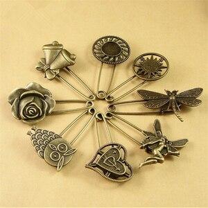 DoreenBeads-pasadores de seguridad de 5cm de largo, Pin Vintage, broche, adorno en forma de corazón y flor en ángulo para bufanda, abrigo, sombrero, bolsos