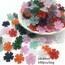 Meideheng Acrylic Matte Beads Monochrome Small heart flower high quality beads for needlework Jewelry making 16mm 100pcs/bag