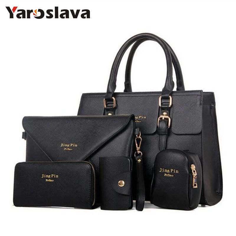 2018 New 5 pcs women handbags set famous brand designer PU women bag set good quality shoulder bag women bags MU67 ...