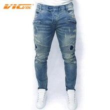 VICVIK Brand Ripped Jeans Men Famous Brand Male Biker Jeans Pants Denim Pants Mens Skinny Jeans Mens Designer Clothes Denim Men