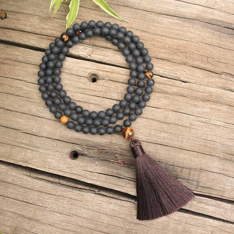 Contas de pedra natural de 8mm, olho de tigres, ônix preto fosco, proteção, oração, conjuntos de japamala, jóias espirituais, meditação, 108 contas mala