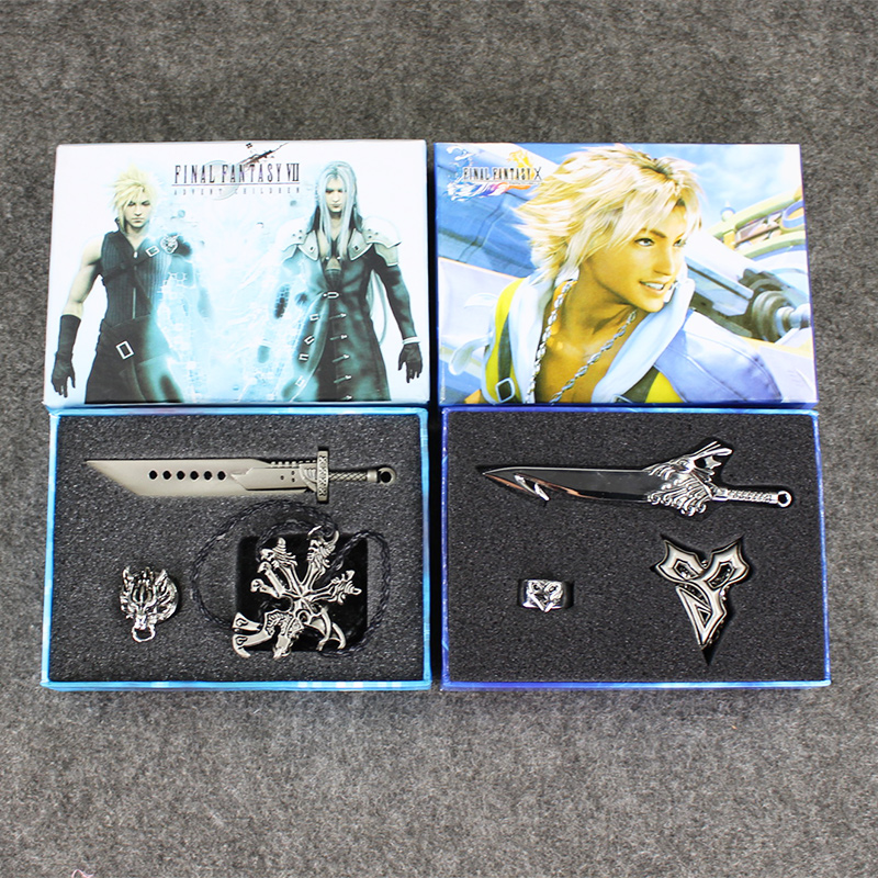 Final Fantasy X FF10 VII FF7 Advent Dirge Cerberus Wolf Necklace Bracelet Sword & Ring Box Set final fantasy x x 2 hd remaster