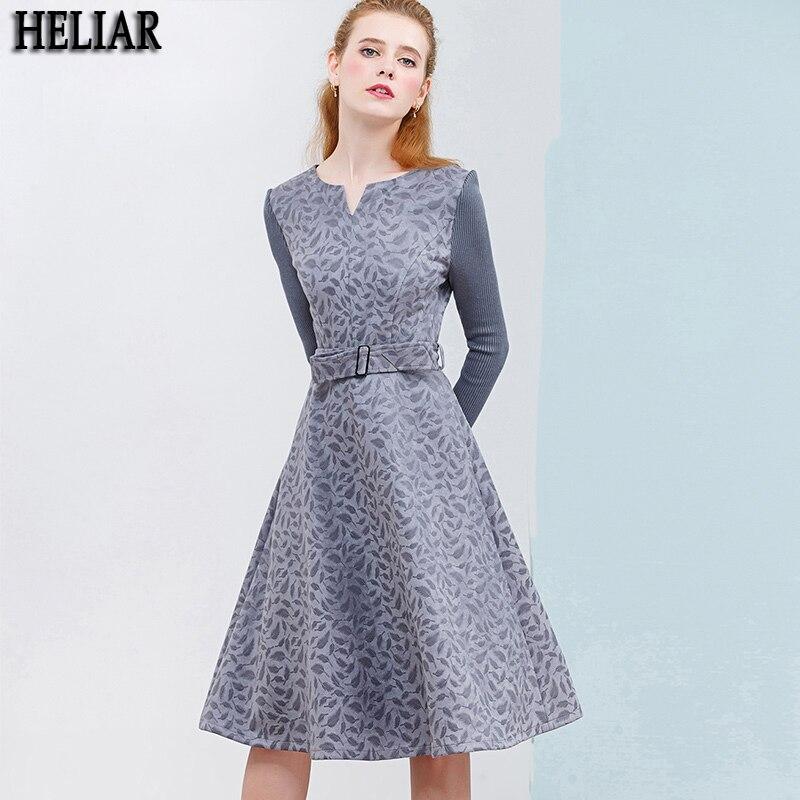 Платье HELIAR женское, зимнее, вельветовое, с длинным рукавом и поясом, 2019|Платья|   | АлиЭкспресс